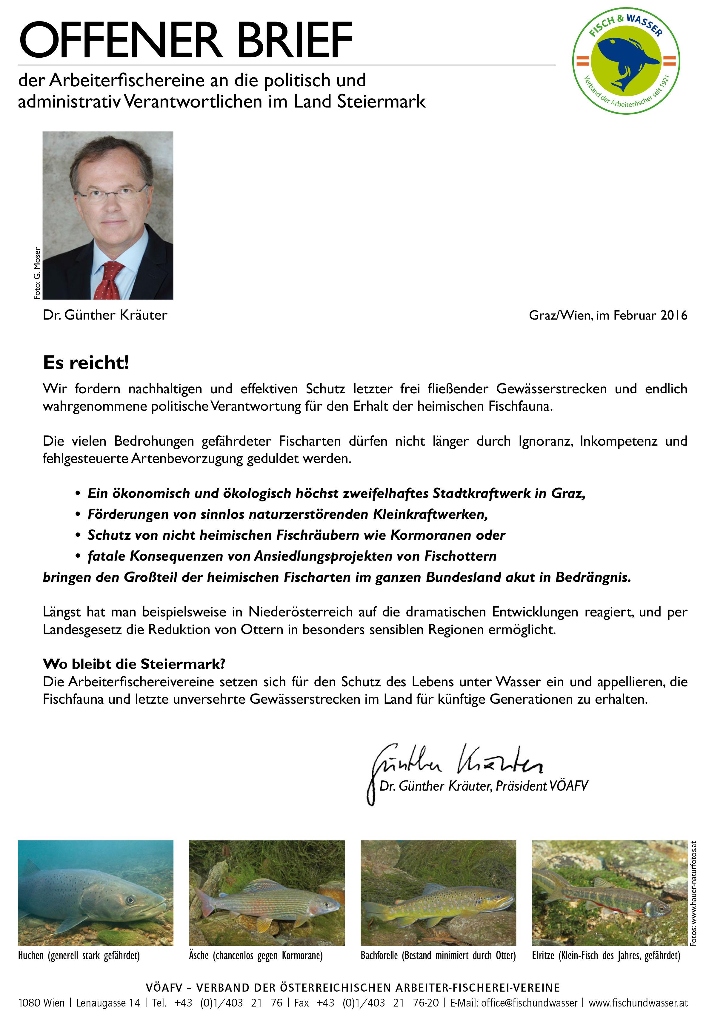 Offener Brief von Dr. Günther Kräuter an die steirische Landespolitik, sich der Verantwortung zum Gewässerschutz bewusst zu werden.
