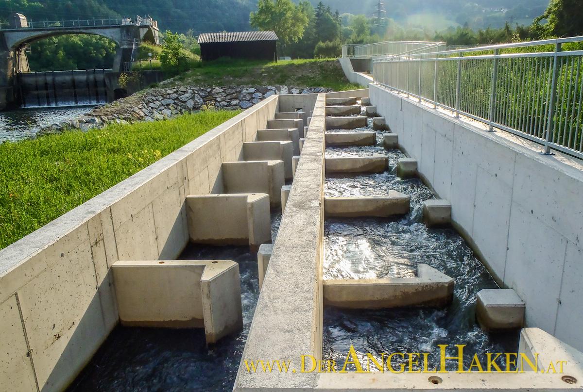 Die neue Fischaufstiegshilfe beim KW Adriach (Kronenwehr) in Peggau.