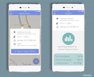 Screenshots der fishntips-App. Viele Daten in übersichtlichem Design.