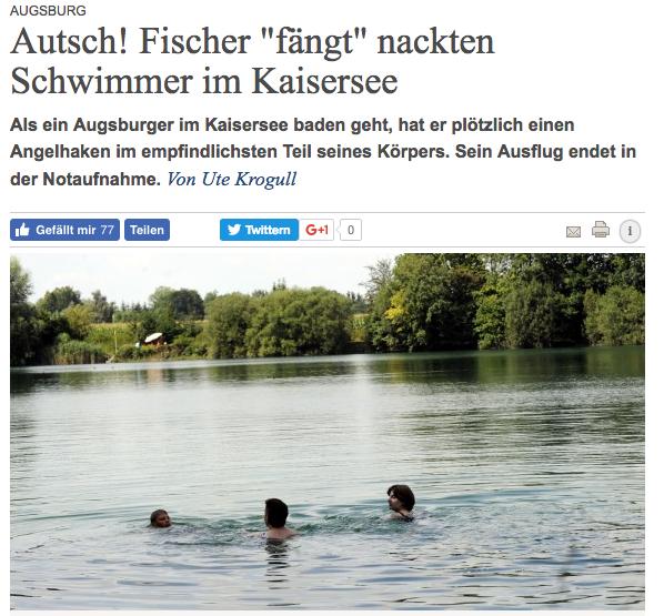Fischer fängt Nacktschwimmer
