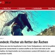 Menschlicher Fischlift für die Äsche. Tiroler retten Fisch des Jahres. - Screenshot orf.at